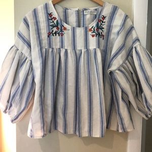 Paper Crane-Size Large embroidered,striped blouse